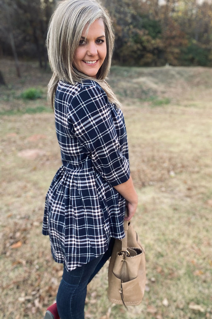 Lisa Tunic - Navy Plaid by Apparel Garden