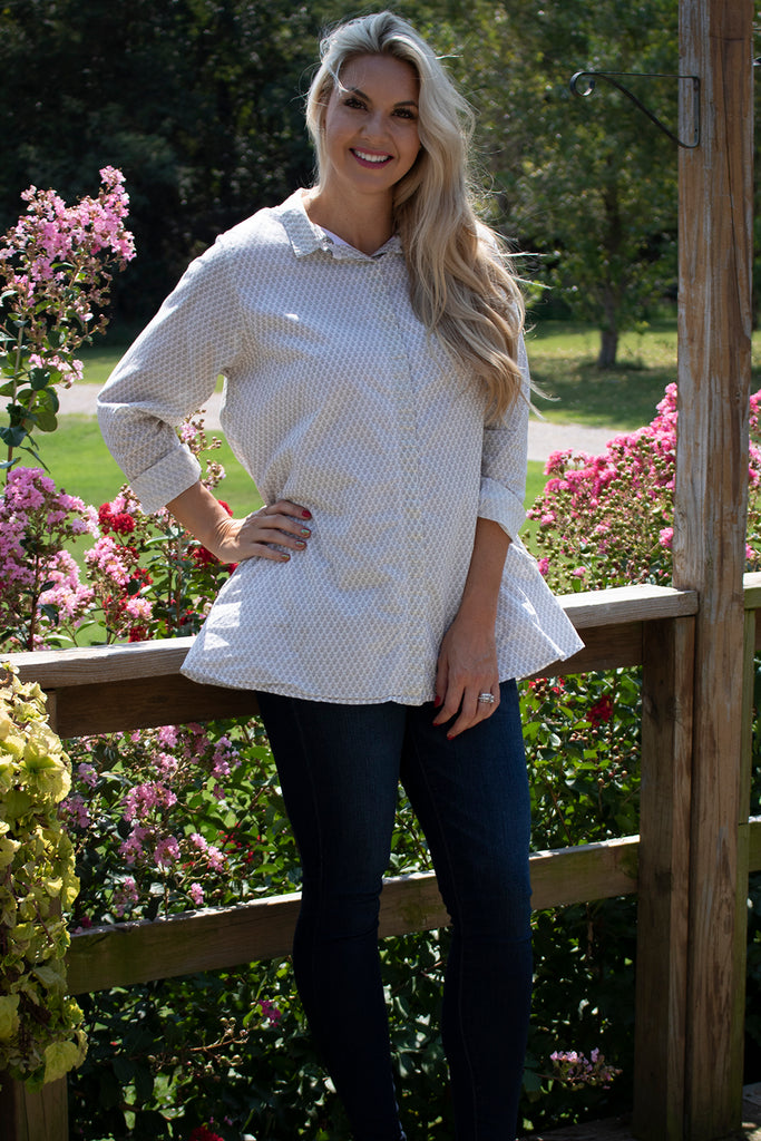 Logan Blouse - Gray Fleurette by Tulip Clothing