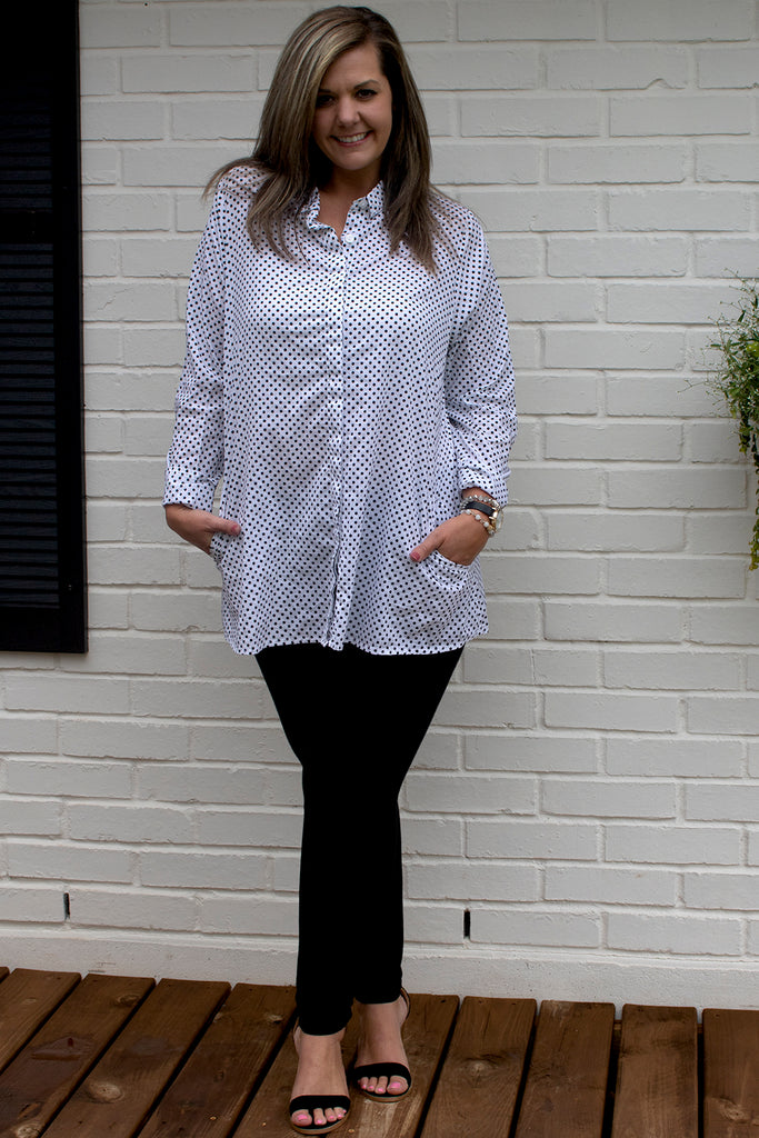 Logan Blouse - White Black Dot by Tulip Clothing