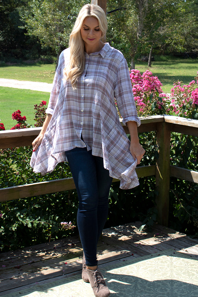 Mimi Tunic - Jib Plaid by Tulip Clothing