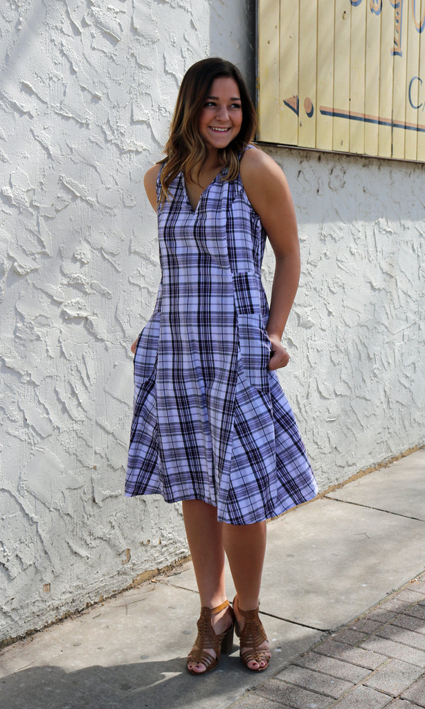 Myla Dress - Lilac Plaid by Tulip Clothing