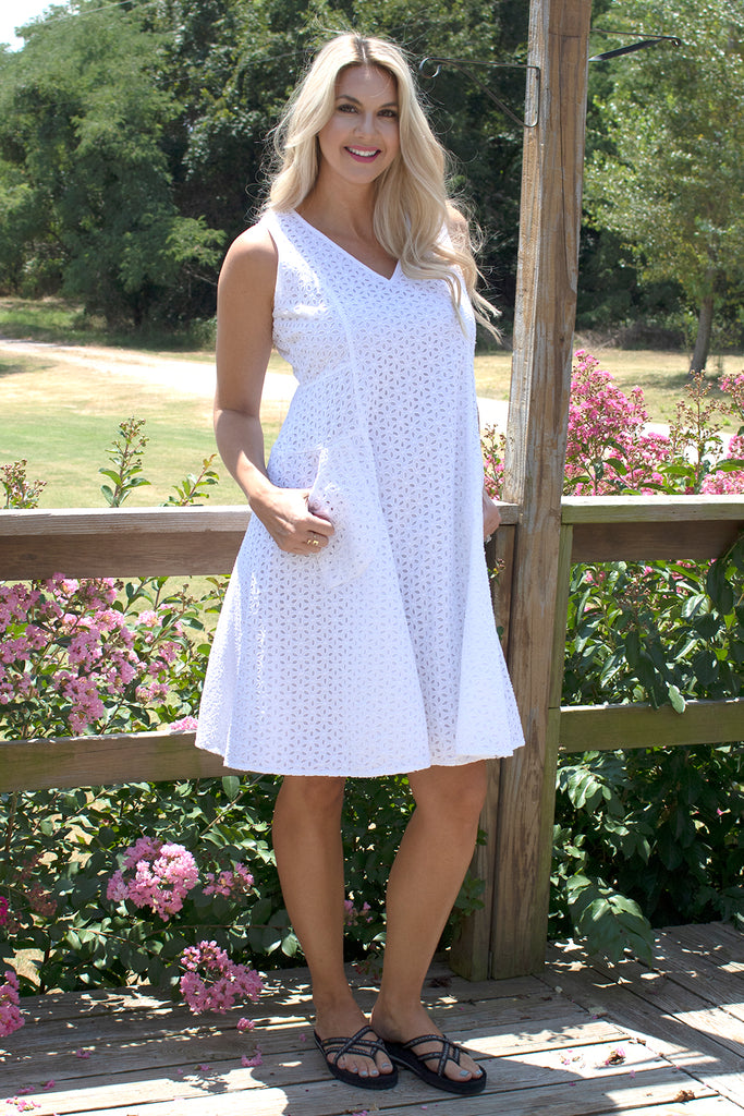 Myla Dress - White Eyelet by Tulip Clothing