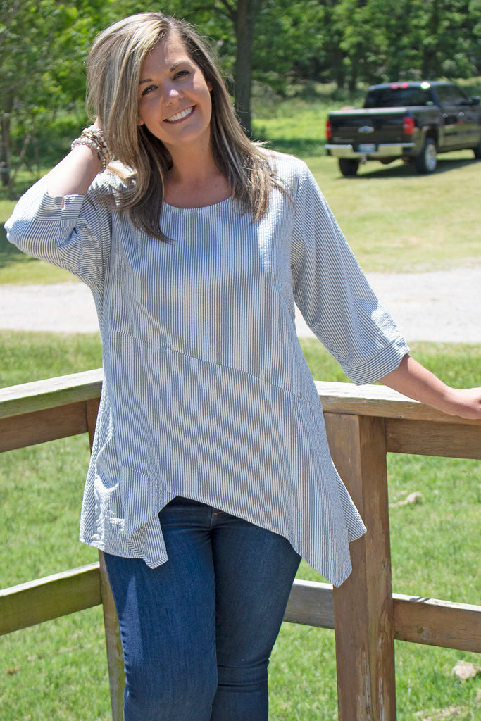 Pippa Tunic - Wave Stripe by Tulip Clothing