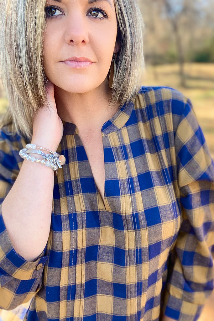 Romy Tunic - Camel/Navy Plaid by Apparel Garden