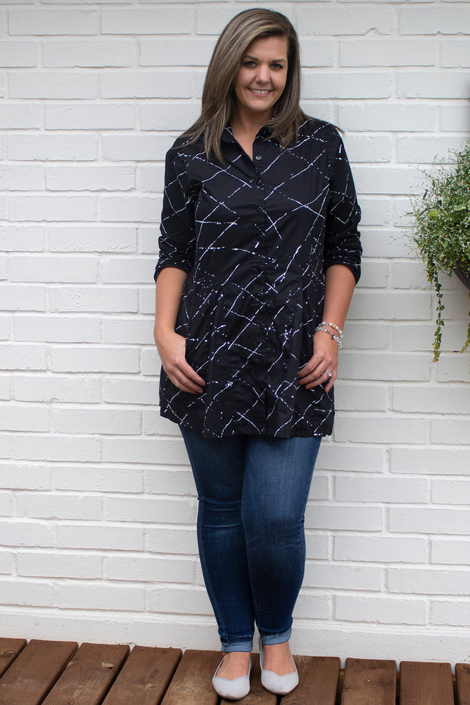 Zoe Shirt - Black Ink Spot by Tulip Clothing