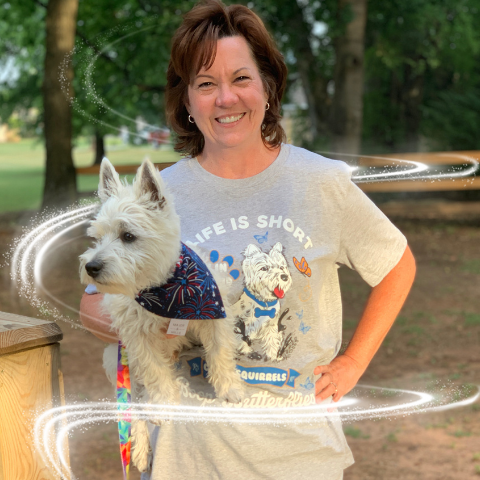Rosco and Mom wearing a Westie dog mom shirt.