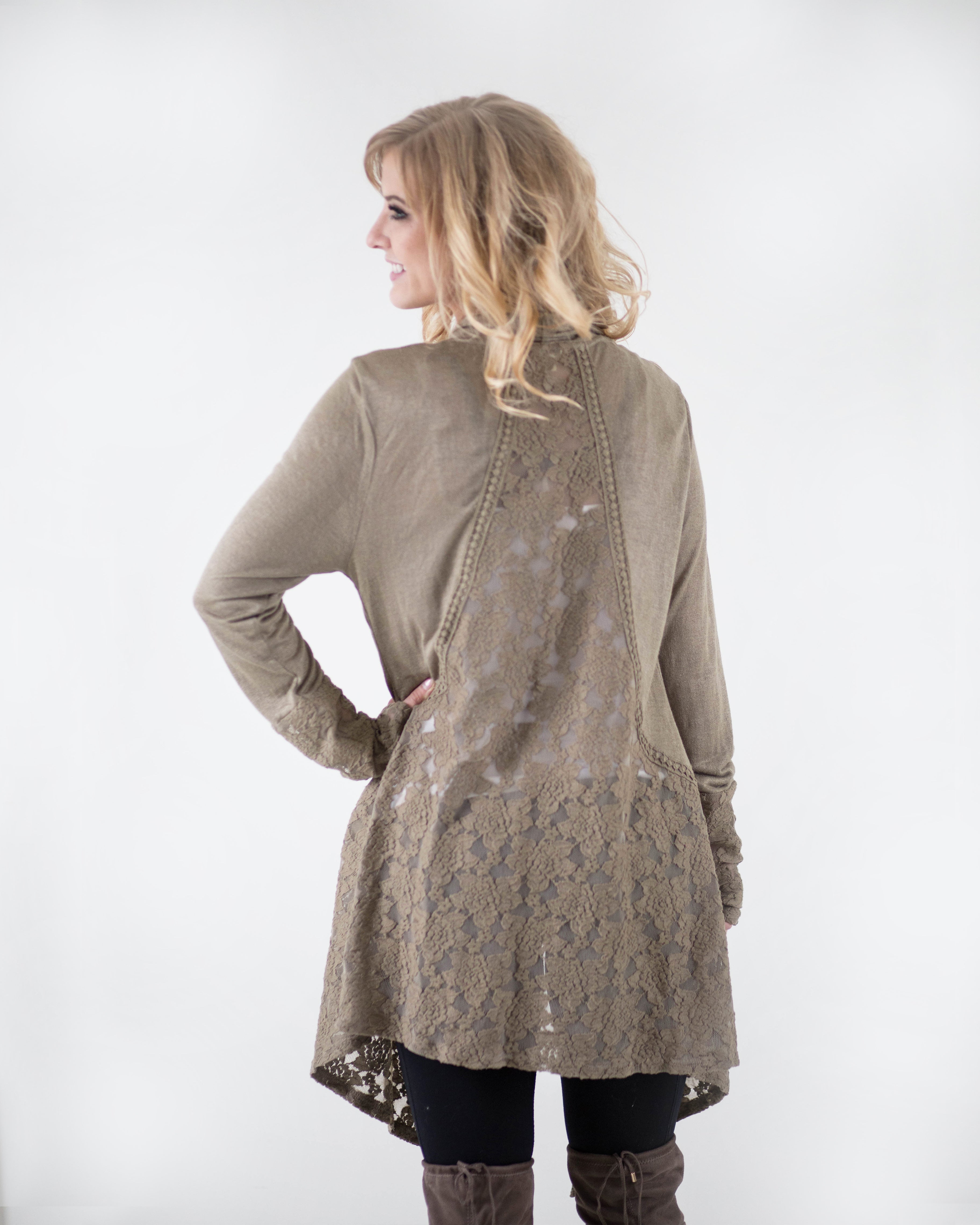 Lovely Tapered Lace Cardigan | Rose & Remington