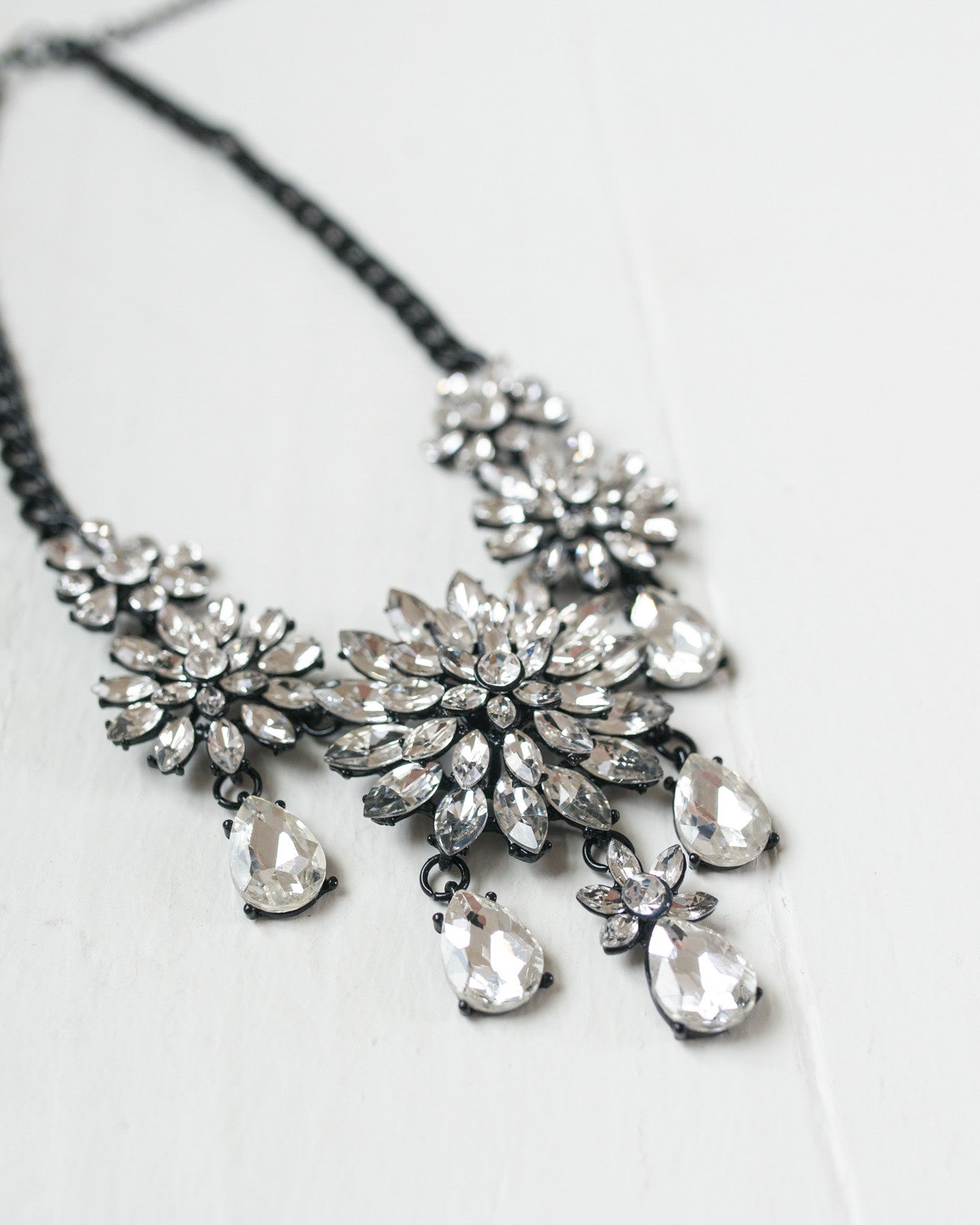 Crystal Flowers Statement Necklace | Rose & Remington