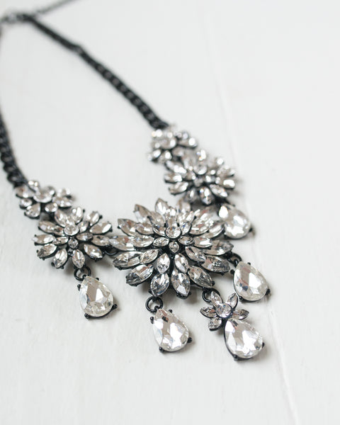 Crystal Flowers Statement Necklace