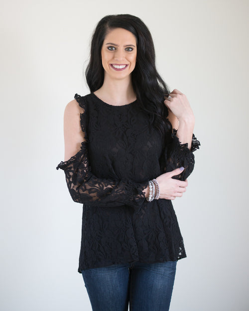 Black Lace Cold Shoulder Top | Rose & Remington