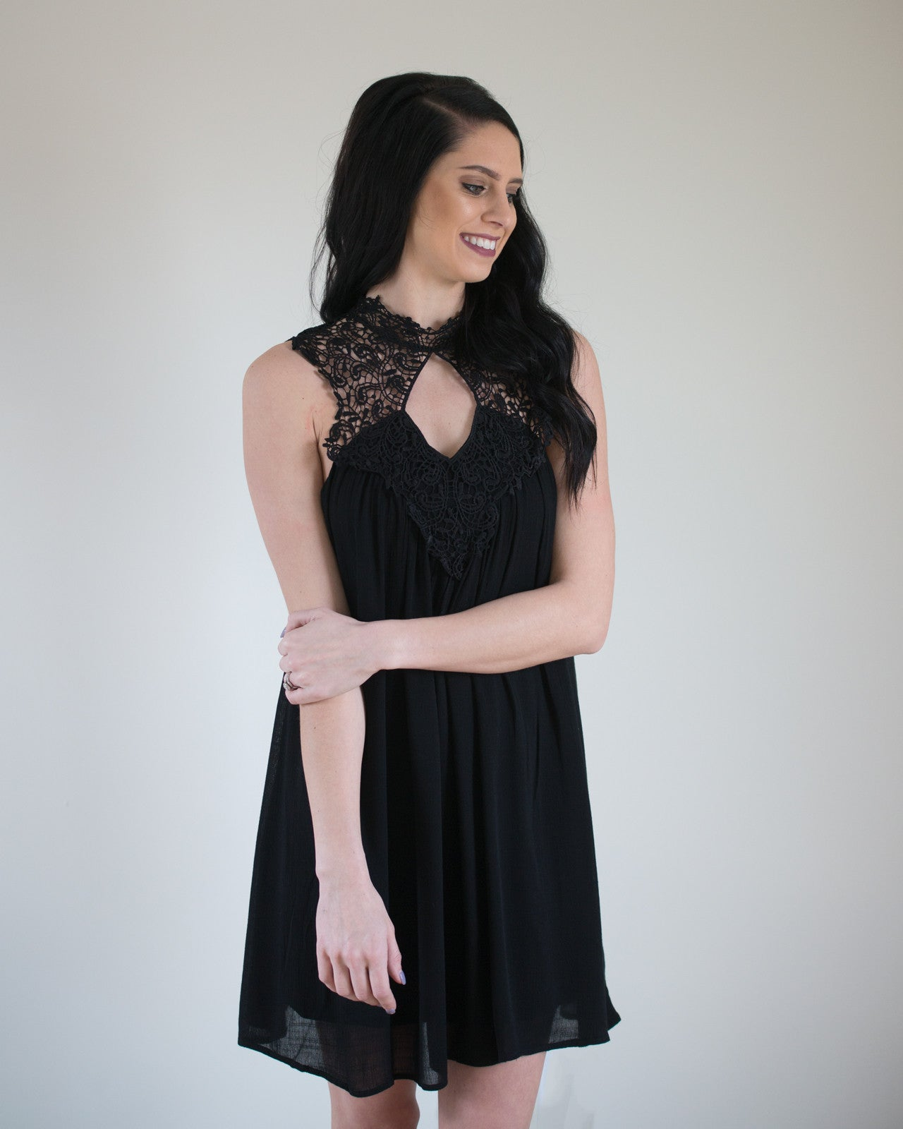 High Neck Crocheted Detail Dress | Rose & Remington