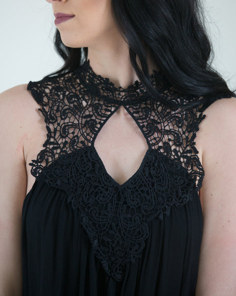 High Neck Crocheted Detail Dress