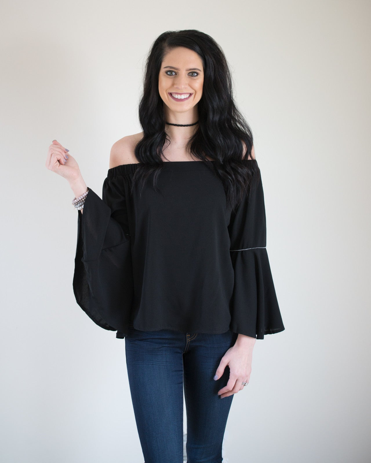 Calista Off the Shoulder Bell Sleeve Top | Rose & Remington