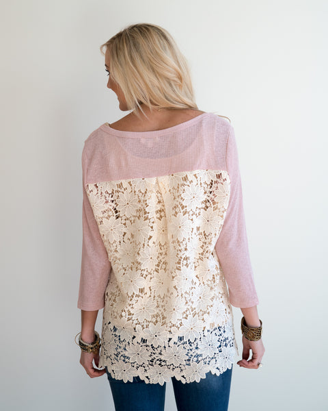 Rosy Lace Detail Top