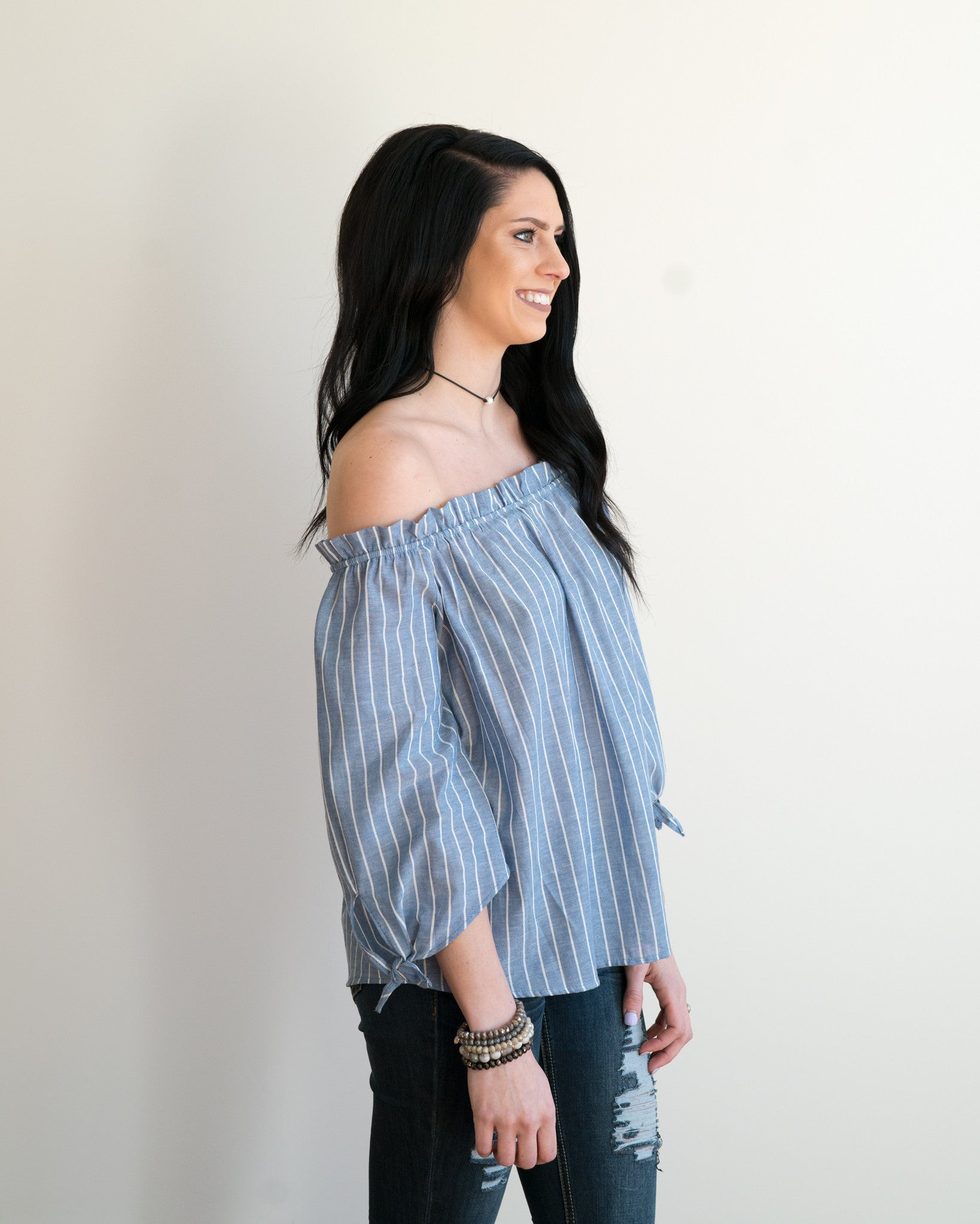 Daisy Blue Striped Knotted Sleeve Top | Rose & Remington