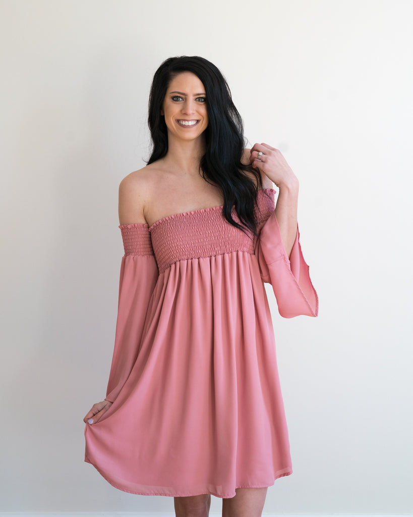 Dusty Rose Off the Shoulder Dress