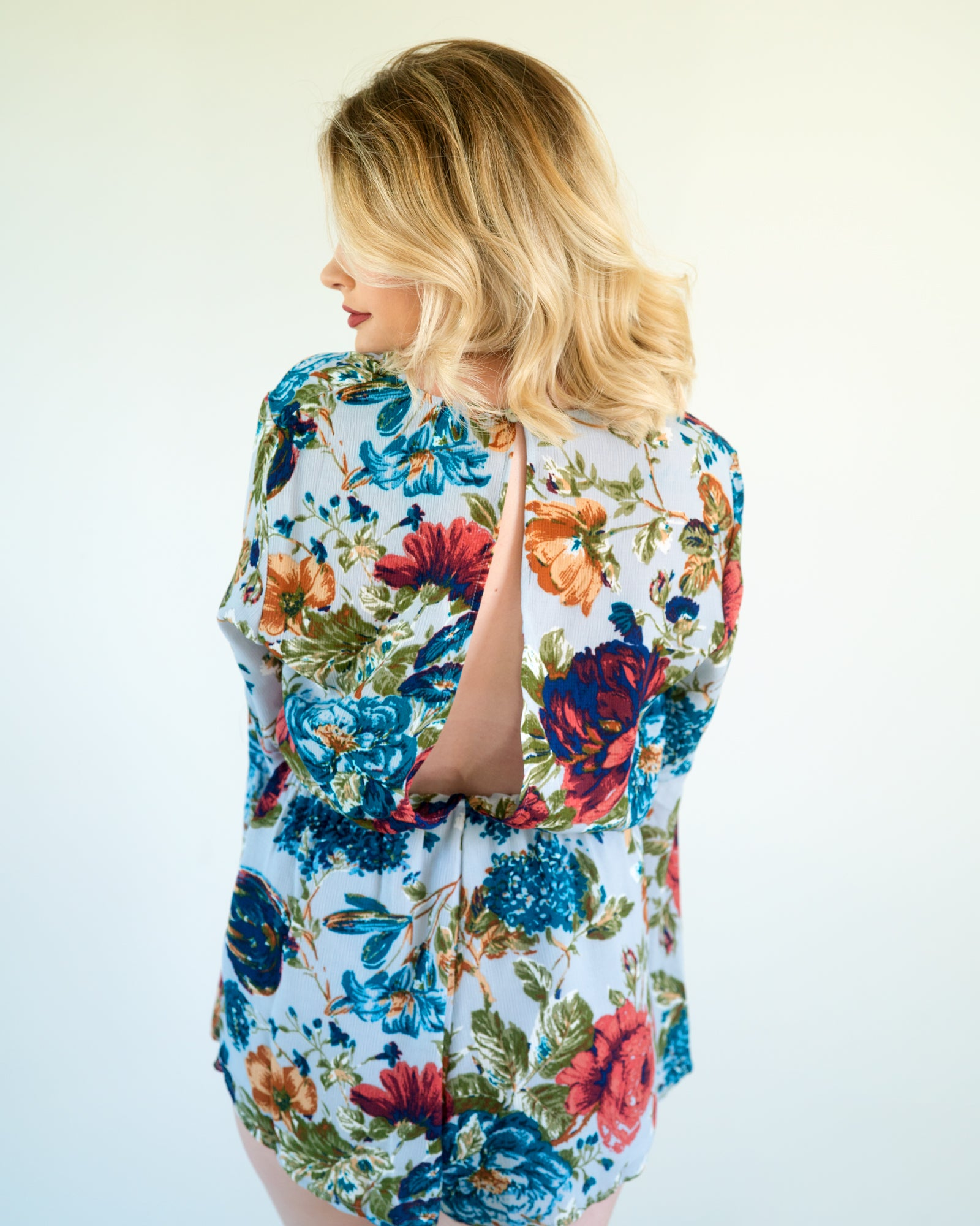 Skye Floral Romper with Bell Sleeves | Rose & Remington
