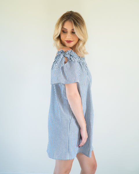 Striped Off-Shouder Dress with Tied Sleeves