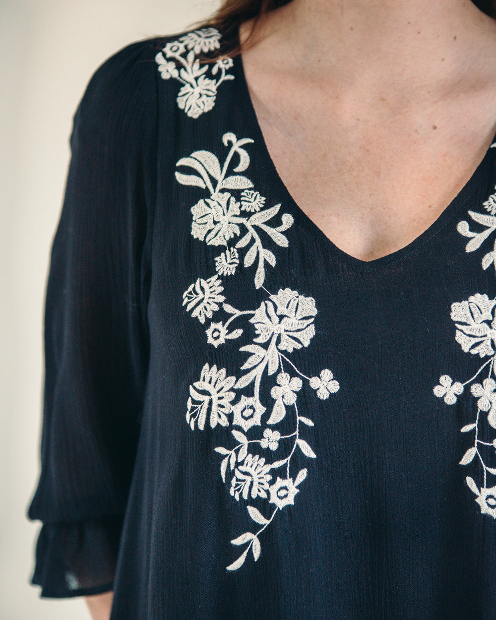 Black Embroidered Floral Dress | Rose & Remington