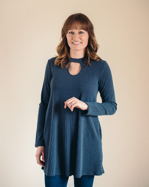 Charcoal Keyhole High Neck Tunic