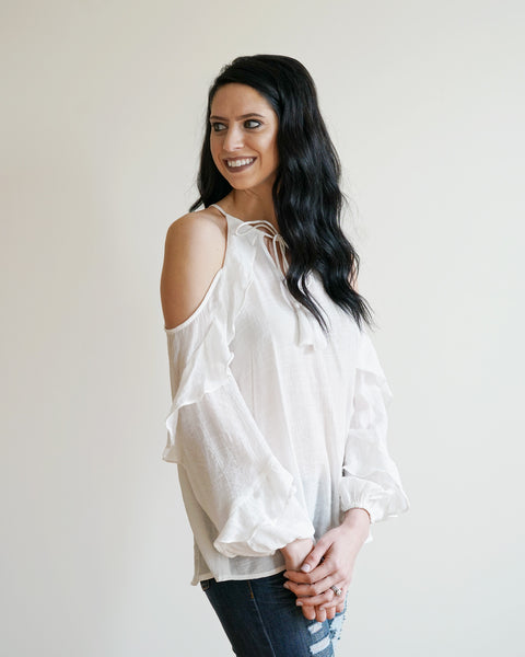 Ruffled Cold Shoulder Top