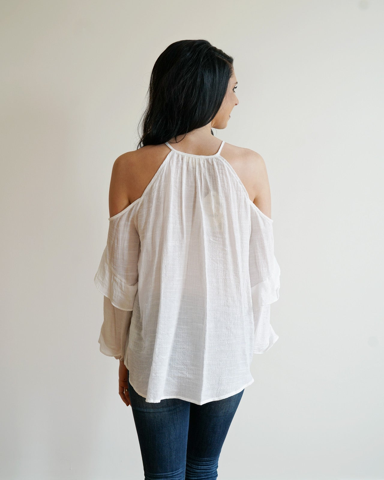 Ruffled Cold Shoulder Top | Rose & Remington