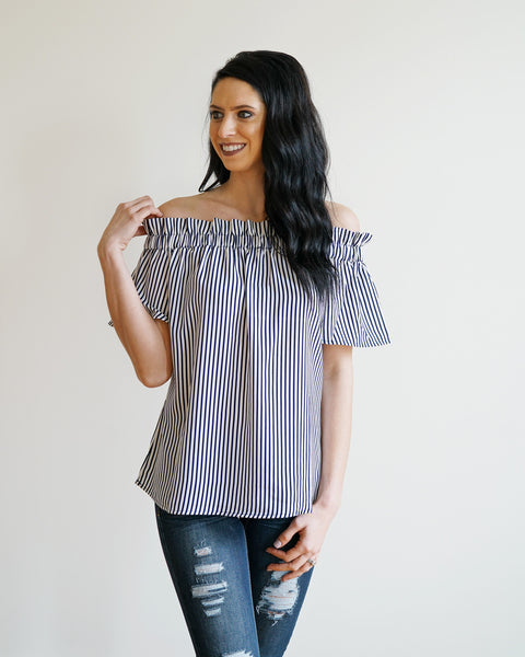 Navy & White Striped Off the Shoulder Top