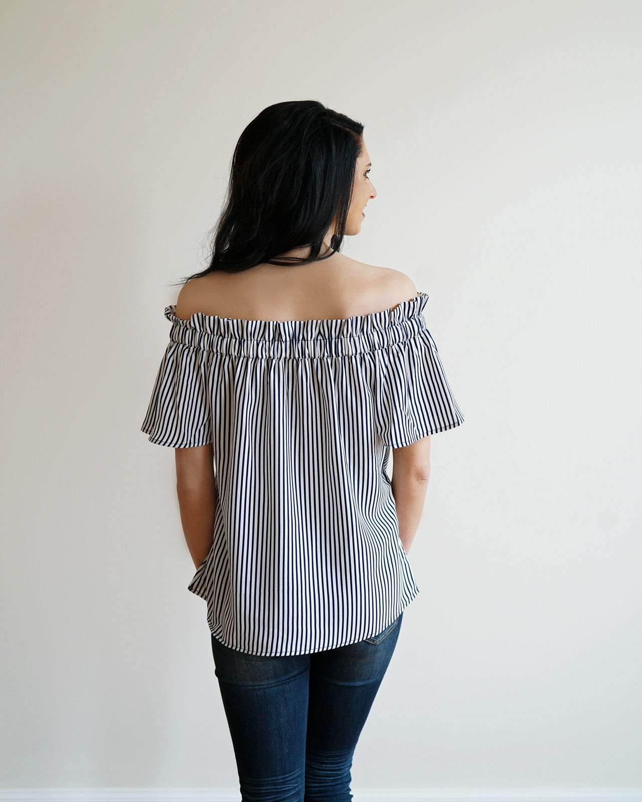 Navy & White Striped Off the Shoulder Top | Rose & Remington