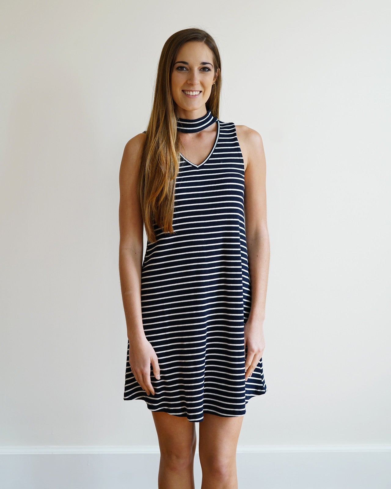 Navy & White Keyhole Sleeveless Dress | Rose & Remington