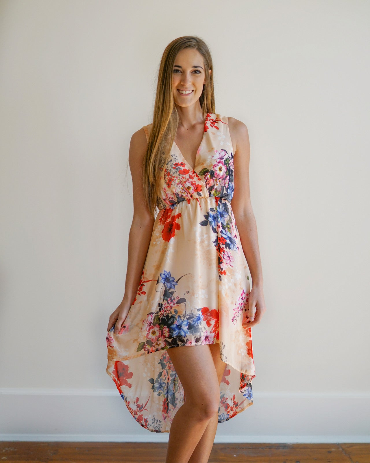 Peach Floral High Low Dress | Rose & Remington