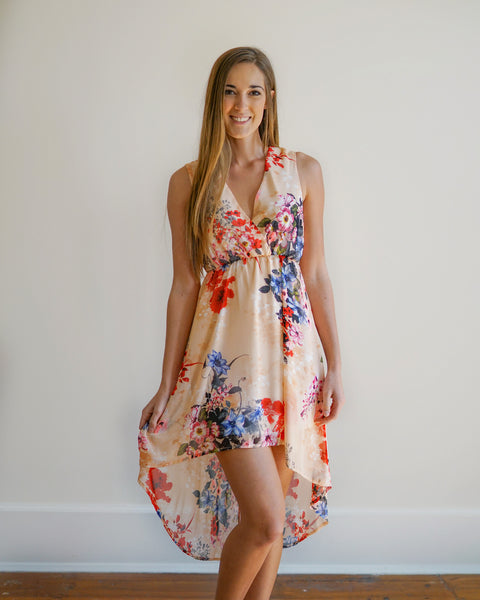 Peach Floral High Low Dress