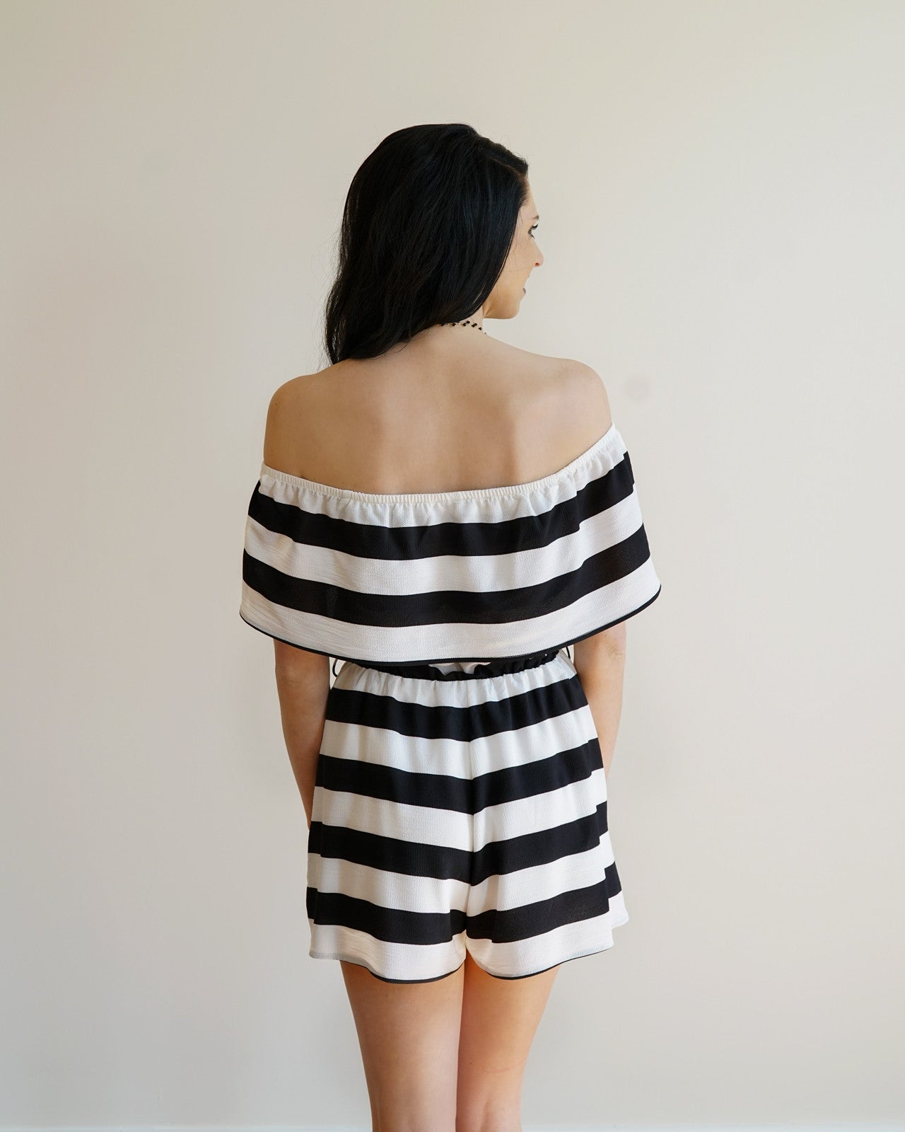06022bf47bfd Black   White Striped Off the Shoulder Romper – Rose   Remington
