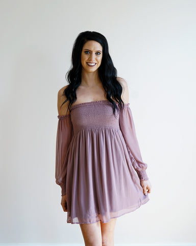 Lavender Smocked Off Shoulder Dress