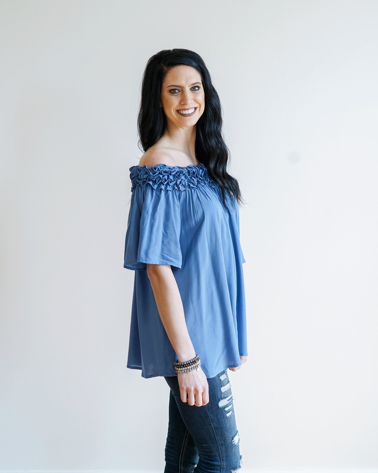 Dusty Blue Ruffled Top | Rose & Remington