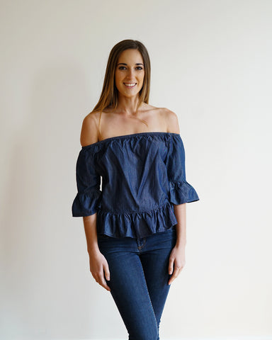 Flared Sleeve Off the Shoulder Denim Top