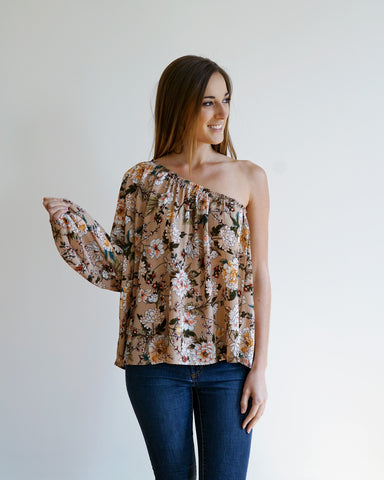 Mauve Floral One Shoulder Top