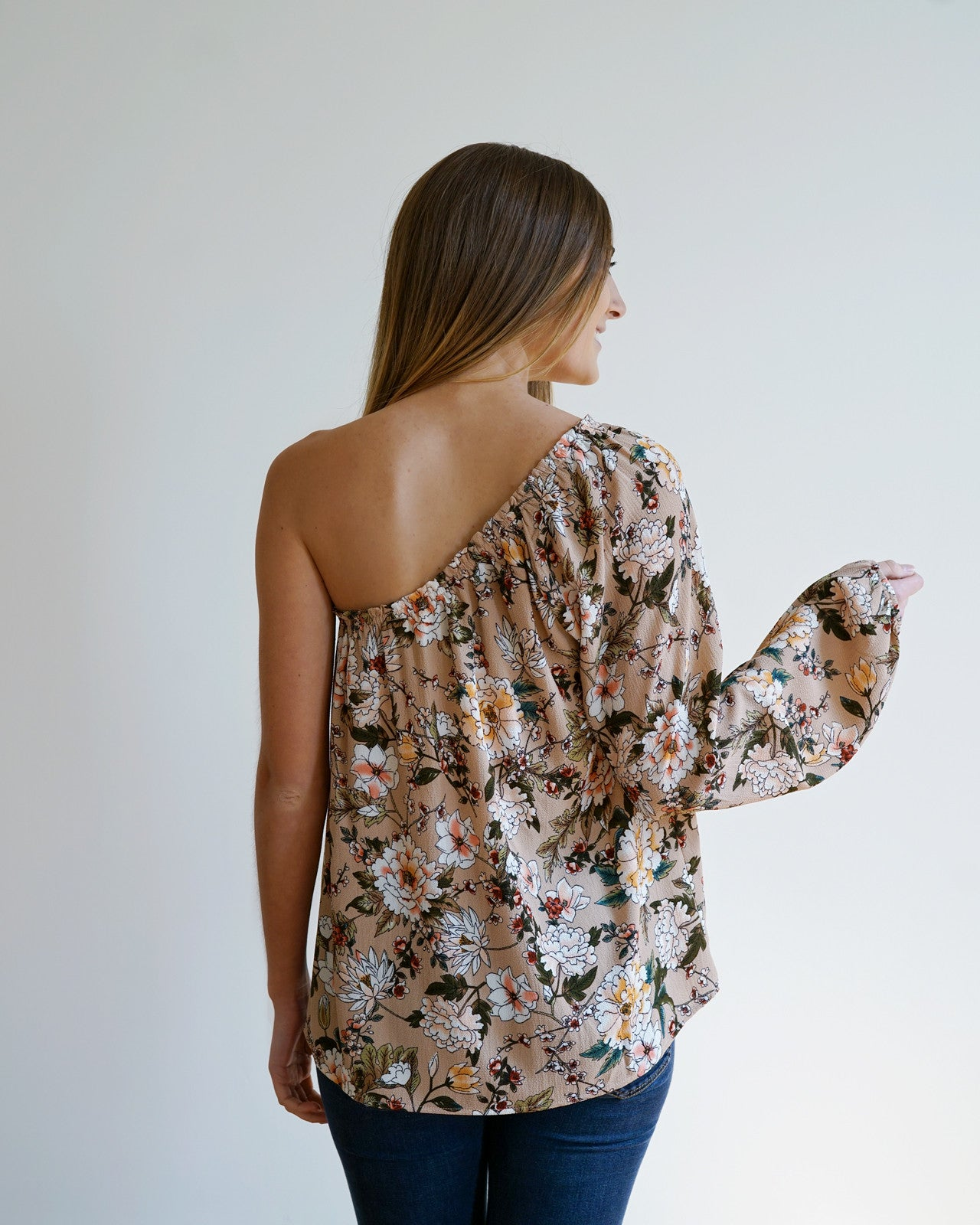 Mauve Floral One Shoulder Top | Rose & Remington