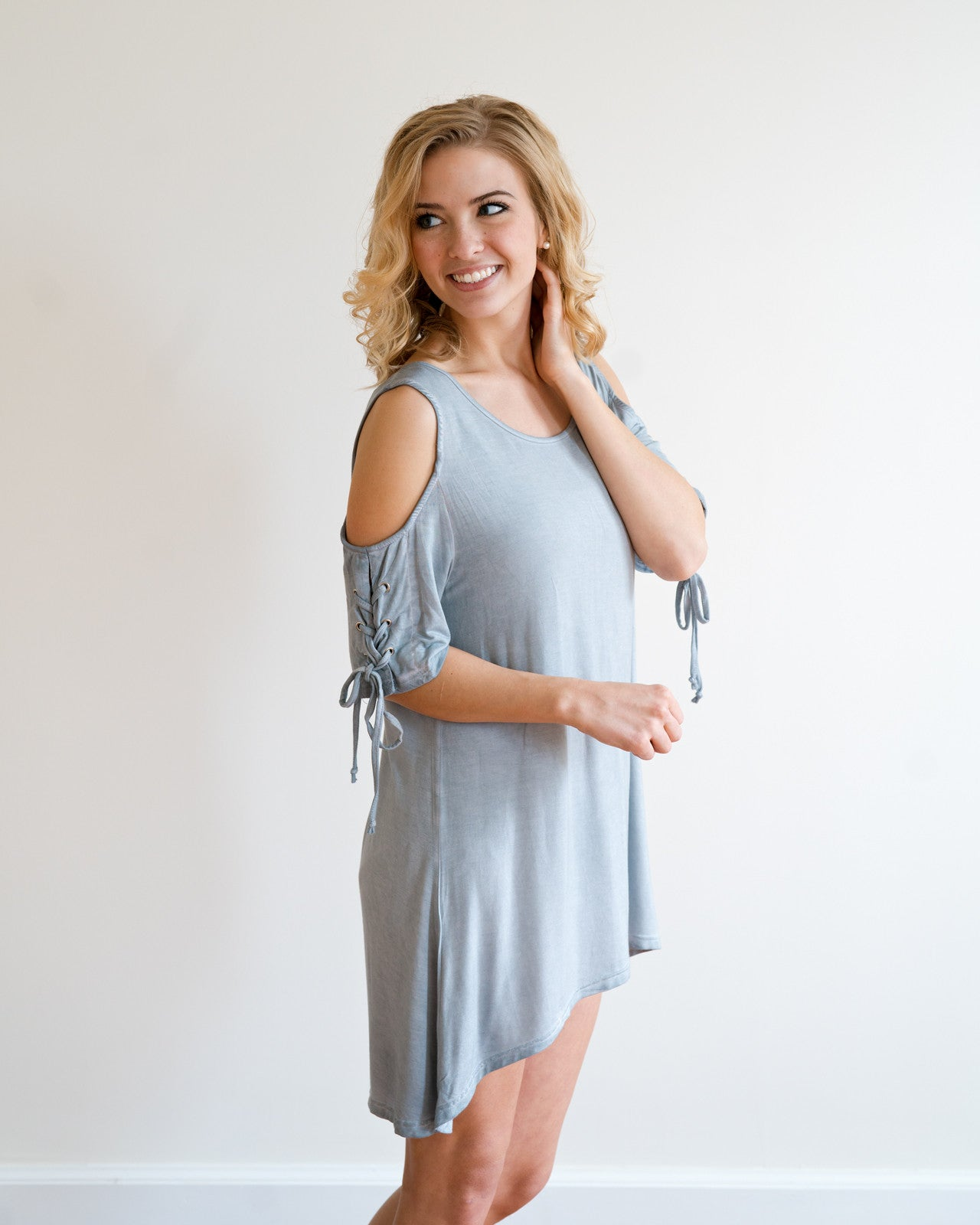Pale Denim Cold Shoulder Tunic | Rose & Remington