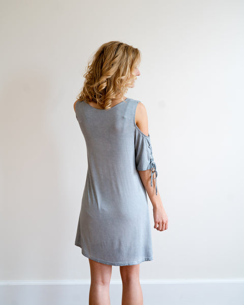 Pale Denim Cold Shoulder Dress