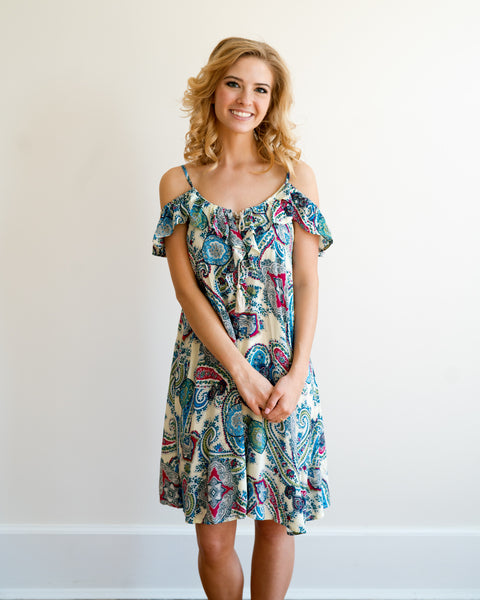 Colorful Paisley Dress with Tassles