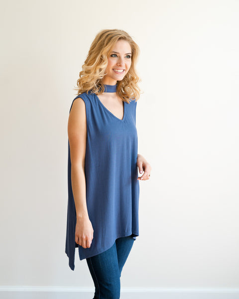 Feeling Blue Sleeveless Choker Neck Top