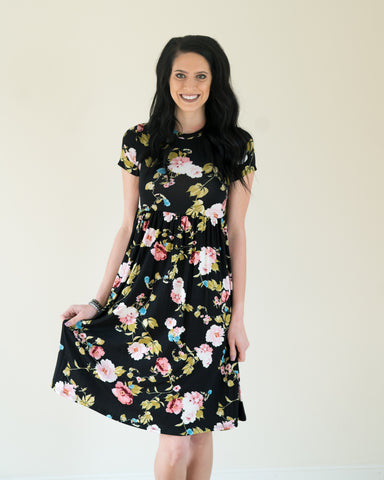 Black Bright Floral Short Sleeved Dress