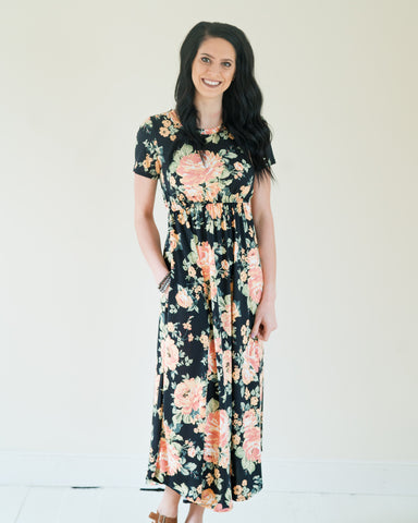 Black Peach Floral Maxi Dress