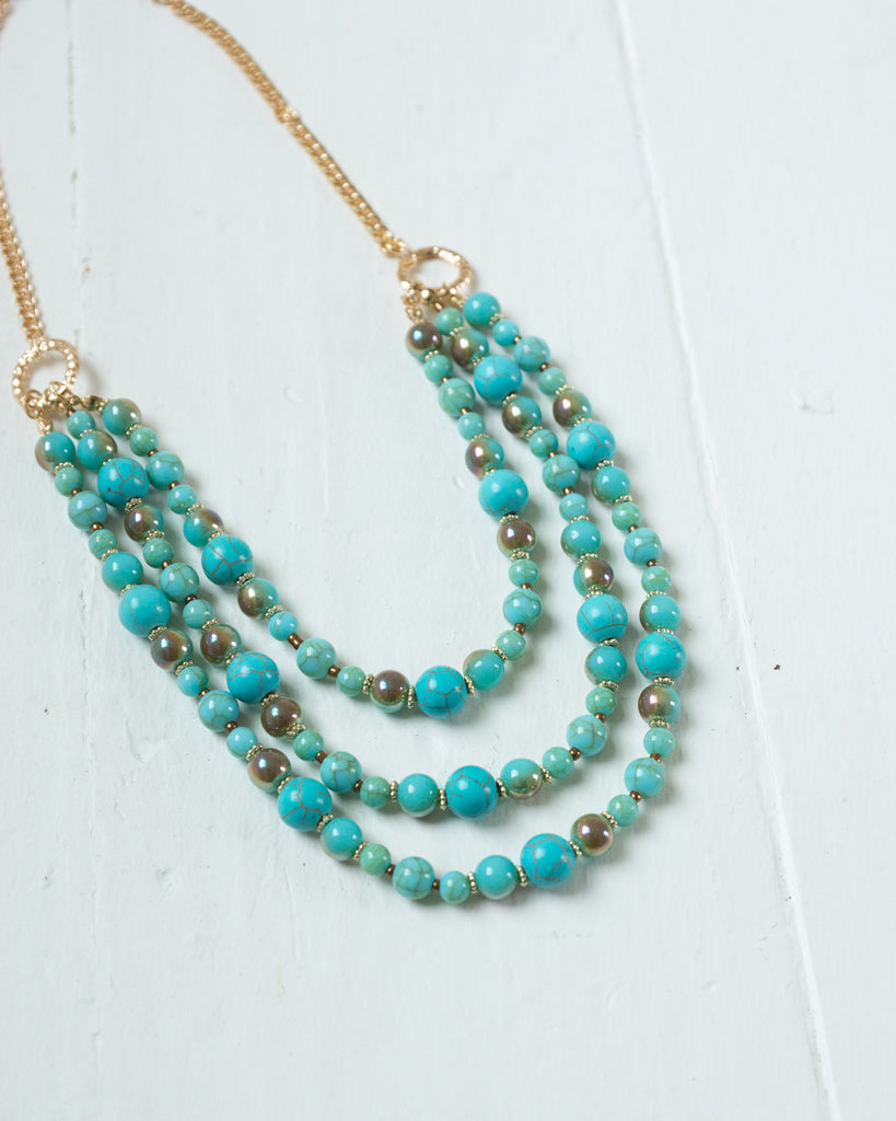 Turquoise Layered Beads Necklace