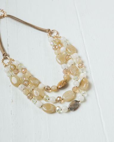 Amber Layered Beads Necklace