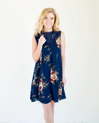 Eva Lace High Neck Floral Dress