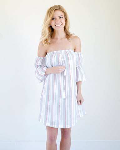 Summer Striped Midi Dress with Tassels