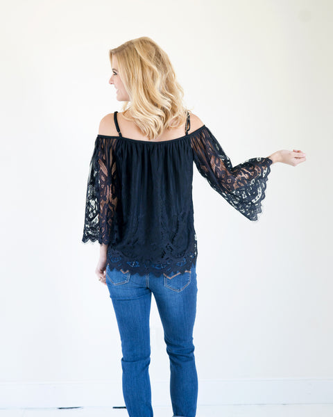 Black Beauty Bell Sleeve Lace Top