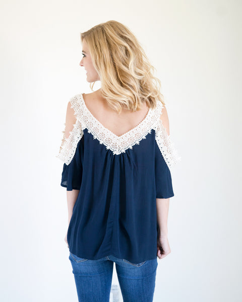 Navy & Lace Split Sleeve Top