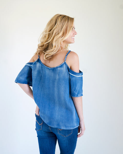 Kelli Denim Cold Shoulder Top
